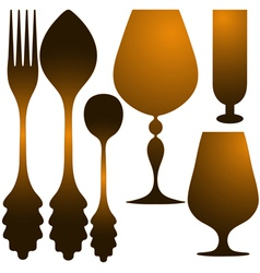 Cutlery golden set vector