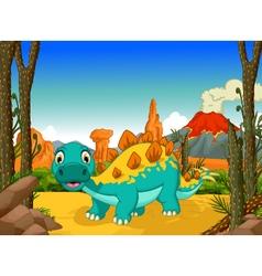funny stegosaurus cartoon with volcano background vector image