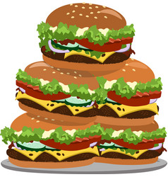 a lot of hamburgers on a plate vector image