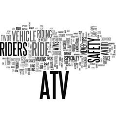 Atv safety tips text background word cloud concept vector