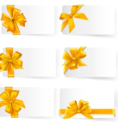 big set of gold gift bows with ribbons vector image vector image