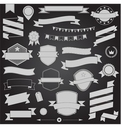 Big set retro design ribbons and badge vector image vector image