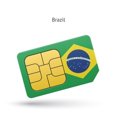Brazil mobile phone sim card with flag vector