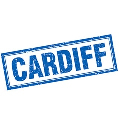 Cardiff blue square grunge stamp on white vector