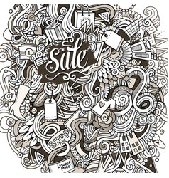cartoon cute doodles hand drawn shopping vector image vector image