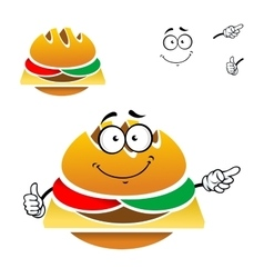 Cartoon tasty fast food cheeseburger vector