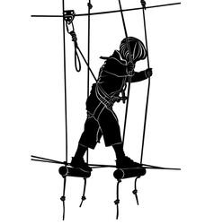 Children in adventure park rope ladder vector