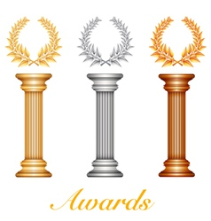 Column laurel awards vector image