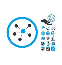 Connections Flat Icon With Bonus vector image