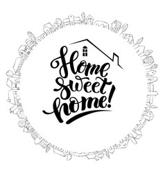 Cute house and modern lettering vector