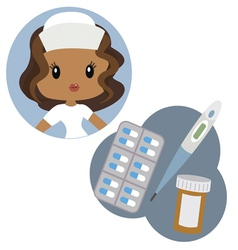Cute nurse and medical tools vector image