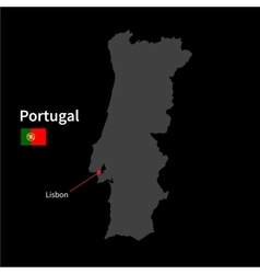 Detailed map of Portugal and capital city Lisbon vector image
