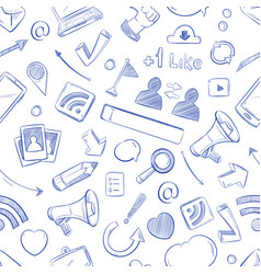 doodle social media movie music news video vector image vector image
