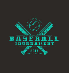 emblem of baseball tournament vector image vector image