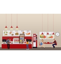 Fast food restaurant interior vector image