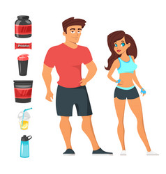 Fitness man and woman athletes vector