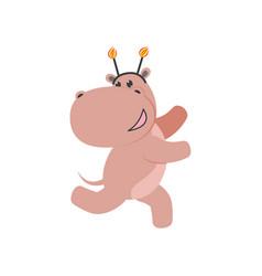 flat hippo character having fun running vector image