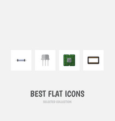 flat icon electronics set of mainframe resistor vector image vector image