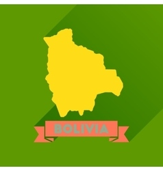 Flat icon with long shadow maps of bolivia vector