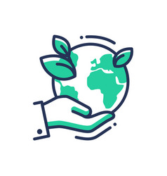 Green earth - modern single line icon vector