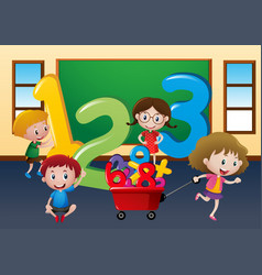 Happy children with large numbers in class vector