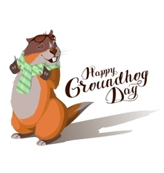 Happy Groundhog Day Marmot casts shadow vector image vector image