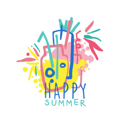 happy summer logo colorful hand drawn vector image