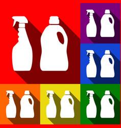 Household chemical bottles sign set of vector