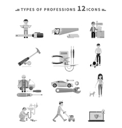 Icons set of tools series black on white vector