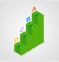 isometric pyramid money vector image vector image