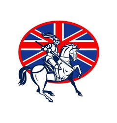 Knight on horse with lance and british flag vector
