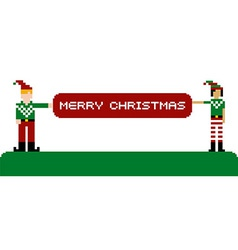 Merry Christmas banner and pixel characters vector image