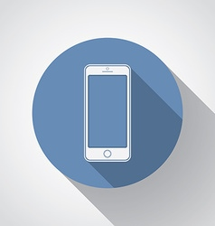 New smartphone flat icon with long shadow vector image vector image