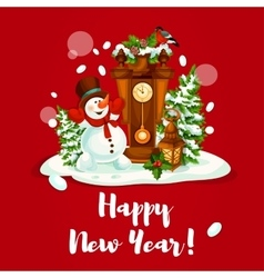 New year design with snowman lantern and clock vector