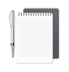 Notebook empty spiral notepad and pen vector image vector image