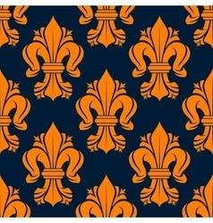 Orange victorian fleur-de-lis seamless pattern vector