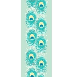 Peacock feathers vertical seamless pattern border vector