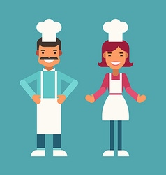 Profession concept cook male and female cartoon vector