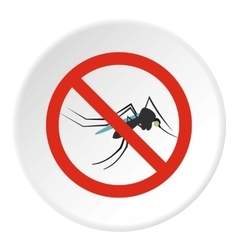 Prohibition sign mosquitoes icon flat style vector