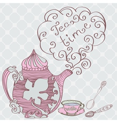 retro tea time vector image vector image