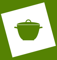 Saucepan simple sign white icon obtained vector