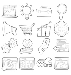 SEO icons set outline cartoon style vector image
