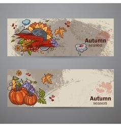 Set horizontal banners of colored autumn doodle vector
