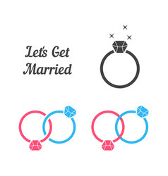 set of rings like get married vector image vector image