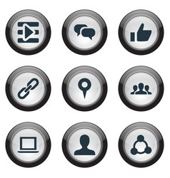 Set of simple social icons elements notebook chain vector