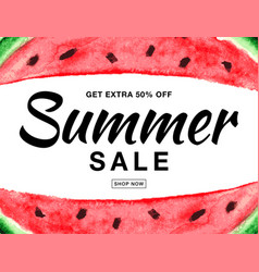 Summer sale banner with watercolor watermelon vector