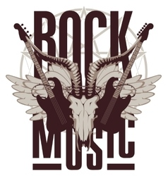 electric guitar wings and goat skull vector image