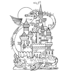 Castle and dragon coloring book vector