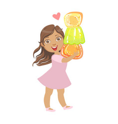 Little girl carring a colorful citrus jelly a vector