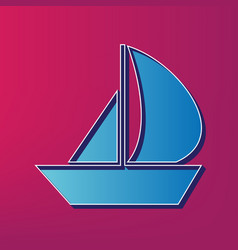 Sail boat sign blue 3d printed icon on vector